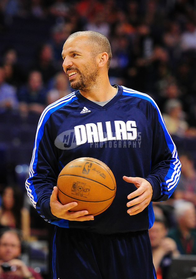 Mar. 27, 2011; Phoenix, AZ, USA; Dallas Mavericks guard (2) Jason Kidd against the Phoenix Suns at the US Airways Center. The Maverick defeated the Suns 91-83. Mandatory Credit: Mark J. Rebilas-