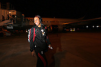 3 April 2008: Candice Wiggins heads to the bus after arriving in Florida during Stanford's travel day to the 2008 NCAA Division I Women's Basketball Final Four in Tampa Bay, FL.