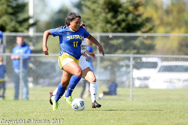BROOKINGS, SD - SEPTEMBER 17:  Leah Manuleleua #11 from South Dakota State University breaks down the field past a defender from Northern Colorado during their game Sunday afternoon at Fischback Soccer Field in Brookings. (Photo by Dave Eggen/Inertia)