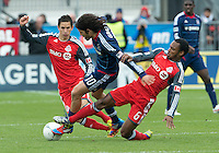 21 April 2012: Chicago Fire midfielder Sebastian Grazzini #10 and Toronto FC midfielder Julian de Guzman #6 in action during the second half in a game between the Chicago Fire and Toronto FC at BMO Field in Toronto..The Chicago Fire won 3-2...