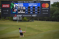 Seamus Power (IRL) hits from the trap on 1 during Round 2 of the Valero Texas Open, AT&T Oaks Course, TPC San Antonio, San Antonio, Texas, USA. 4/20/2018.<br /> Picture: Golffile | Ken Murray<br /> <br /> <br /> All photo usage must carry mandatory copyright credit (© Golffile | Ken Murray)