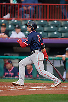Portland Sea Dogs Brett Netzer (3) at bat during an Eastern League game against the Erie SeaWolves on June 17, 2019 at UPMC Park in Erie, Pennsylvania.  Portland defeated Erie 6-3.  (Mike Janes/Four Seam Images)