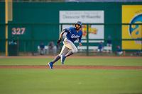 Tulsa Drillers infielder Jared Walker (3) runs back to second on May 13, 2019, at Arvest Ballpark in Springdale, Arkansas. (Jason Ivester/Four Seam Images)