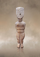 Female figurine statuette : Cycladic Canonical type, Spedos variety. Early Cycladic Period II, (2800-2300 BC), ' Museum of Cycladic Art Athens.<br /> <br /> The cycaldic figurine has its facial features preserved in relief. The eyes, eye brows and hair was probably painted which subsequently protected theses areas of the marble from erosion. Red pigment was found on the cheek and thighs. This is a mature work of the Spedos variety