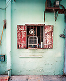 CHINA, Macau, Taipa, Asia, Birdcage hanging in front of house window