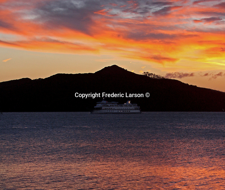 On sunrise mornings such as these you know now how a small island got named after an angel. The Spirit of Yorktown, an overnight vessel, just happen to make her way pass the Angel Island as the clouds slowly turned into a stain glass window.