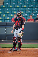Chattanooga Lookouts catcher Dan Rohlfing (8) during a game against the Jackson Generals on April 27, 2017 at The Ballpark at Jackson in Jackson, Tennessee.  Chattanooga defeated Jackson 5-4.  (Mike Janes/Four Seam Images)