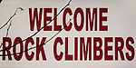 Welcome Rock Climbers illuminated sign at High Desert Motel, Joshua Tree, California