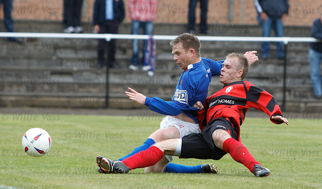 Kirkintillich Rob Roy's striker Gary Gow is clean through on goal but is denied by a marvellous last gasp tackle by Irvine Meadow's John Dillon