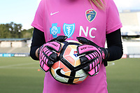Cary, North Carolina  - Saturday September 09, 2017: Katelyn Rowland wears pink gloves and a pink jersey as part of the team's Breast Cancer Awareness match prior to a regular season National Women's Soccer League (NWSL) match between the North Carolina Courage and the Houston Dash at Sahlen's Stadium at WakeMed Soccer Park. The Courage won the game 1-0.