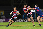 Tim Nanai-Williams heads for the tryline, only to have to have the try ruled out for obstruction. Mitre 10 Cup game between Counties Manukau Steelers and Tasman Mako's, played at ECOLight Stadium Pukekohe on Saturday October 14th 2017. Counties Manukau won the game 52 - 30 after trailing 22 - 19 at halftime. <br /> Photo by Richard Spranger.