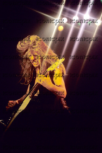 METALLICA - James Hetfield - performing live at the Espace Ballard in Paris France - 18 Nov 1984.  Photo credit:  Bertrand Alary/IconicPix