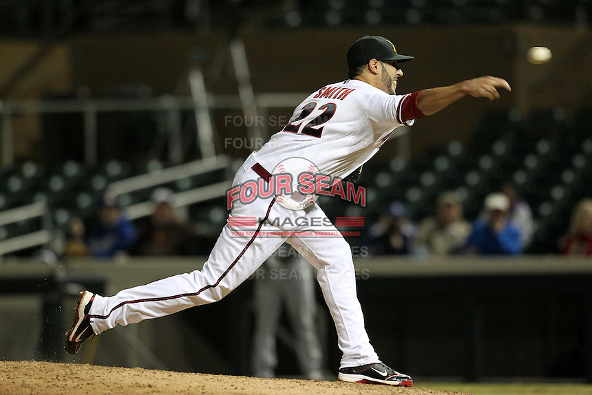 Salt River Rafters pitcher Eric Smith #22 during an Arizona Fall League game against the Peoria Javelinas at HoHoKam Park on November 4, 2011 in Mesa, Arizona.  Salt River defeated Peoria 13-4.  (Mike Janes/Four Seam Images)