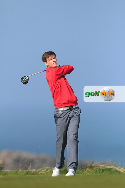 Andrew Mulholland (Castlerock) during Round 1 of the 54 hole Stroke Play on April 10th  2015 for the 2015 Munster Youths' Open Championship, Tralee Golf Club, Tralee, Co.Kerry Ireland.<br /> Picture: Thos Caffrey / Golffile