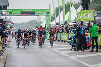 Victory for Edward Theuns (BEL/Trek Segafredo). He wins the sprint ahead of Marco Kump (SLO/UAE) and Tim Merlier (BEL/Veranda's WIllems-Crelan)<br /> <br /> Binckbank Tour 2017 (UCI World Tour)<br /> Stage 4: Lanaken &gt; Lanaken (BEL) 155km