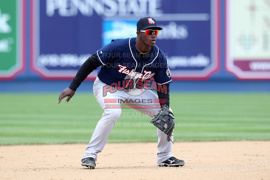 New Hampshire Fisher Cats shotstop Adeiny Hechavarria #2 during a game against the Reading Phillies at FirstEnergy Stadium on May 5, 2011 in Reading, Pennsylvania.  New Hampshire defeated Reading by the score of 10-5.  Photo By Mike Janes/Four Seam Images