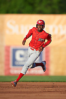 Williamsport Crosscutters right fielder Juan Luis (17) running the bases during a game against the Auburn Doubledays on June 25, 2016 at Falcon Park in Auburn, New York.  Auburn defeated Williamsport 5-4.  (Mike Janes/Four Seam Images)