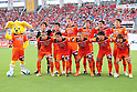 Shimizu S-Pulse team group line-up,JULY 16, 2011 - Football .Shimizu S-Pulse players (Top row - L to R) Kenpei Usui, Taisuke Muramatsu, Eddy Bosnar, Yasuhiro Hiraoka, Alex, Kosuke Ota, (Bottom row - L to R) Naohiro Takahara, Daigo Kobayashi, Shinji Ono, Masaki Yamamoto and Takuma Edamura pose for a team photo with the club mascot Pul-chan before the 2011 J.League Division 1 match between Shimizu S-Pulse 2-1 Albirex Niigata at OUTSOURCING Stadium Nihondaira in Shizuoka, Japan. (Photo by AFLO)