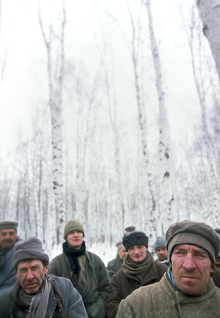 "On the shooting of ""Serko"", a film reenacting the longest horse-ride ever done in the history of man, : 9000 Km in 200 days from the Amur River to St Petersburg, by a Cossack named Dimitri Petchkov and his horse Serko  in the winter of 1890. Siberia, Irkutsk District, Lake Baikal region, March 2005. Director: Joel Farges. Adaptation from the book by Jean-Louis Gouraud: Serko..Scene: a group of prisoner meets Serko in a birsch forest."