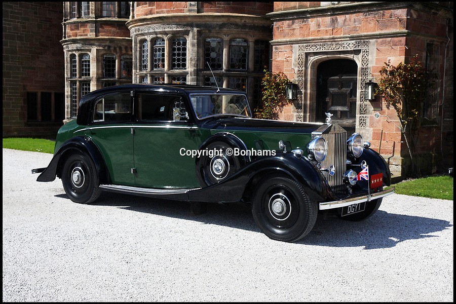 BNPS.co.uk (01202 558833)Pic: Bonhams/BNPS<br /> <br /> A Rolls-Royce that belonged to Field Marshall Bernard Montgomery and ferried King George VI, Winston Churchill and General Eisenhower between secret D-Day planning meetings has emerged for sale. <br /> <br /> In the throes of the Second World War the handsome Phantom III was the staff car for the British army supremo while he was based at Southwick House, near Portsmouth.<br /> <br /> In the months leading up to June 6, 1944 the 19th century manor house was the headquarters of the main Allied commanders.<br /> <br /> Montgomery would often send his chauffeur-driven Rolls-Royce up to London to collect the King and the Prime Minister.