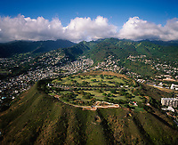 Punchbowl Crater, Aerial View, National Memorial Cemetary of The Pacific, Honolulu, Oahu, Hawaii, USA.