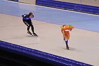 SCHAATSEN: HEERENVEEN: IJsstadion Thialf, 24-11-2012, Pien Keulstra reed een trainingswedstrijd 3000m tegen haar zus Fenne, ©foto Martin de Jong