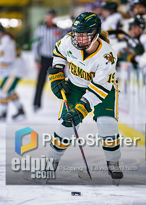 2 February 2020: University of Vermont Catamount Forward Val Caldwell, a Junior from Glenview, IL, looks to center the puck in second period action against the Holy Cross Crusaders at Gutterson Fieldhouse in Burlington, Vermont. The Lady Cats rallied in the 3rd period to tie the Crusaders 2-2 in NCAA Women's Hockey East play. Mandatory Credit: Ed Wolfstein Photo *** RAW (NEF) Image File Available ***
