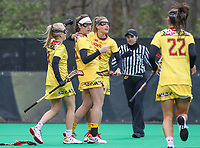 College Park, MD - April 19, 2018: Maryland Terrapins celebrates after a goal during game between Penn St. and Maryland at  Field Hockey and Lacrosse Complex in College Park, MD.  (Photo by Elliott Brown/Media Images International)