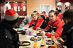 Ohio State junior Aaron Craft (4) talks with teammates during a team breakfast at the Schottenstein Center on February 5, 2013...2013 © Steve Boyle
