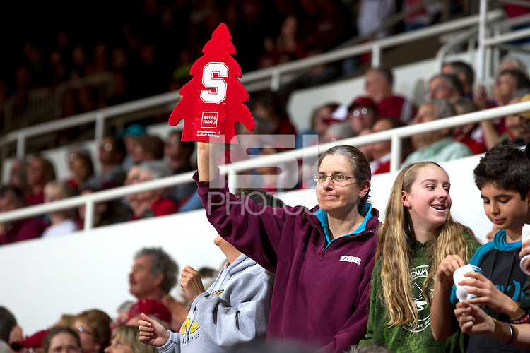 Stanford fans at the Saturday's, March 1, 2014, Stanford women's basketball  vs Washington State game at Maples Pavilion, at Stanford, California.