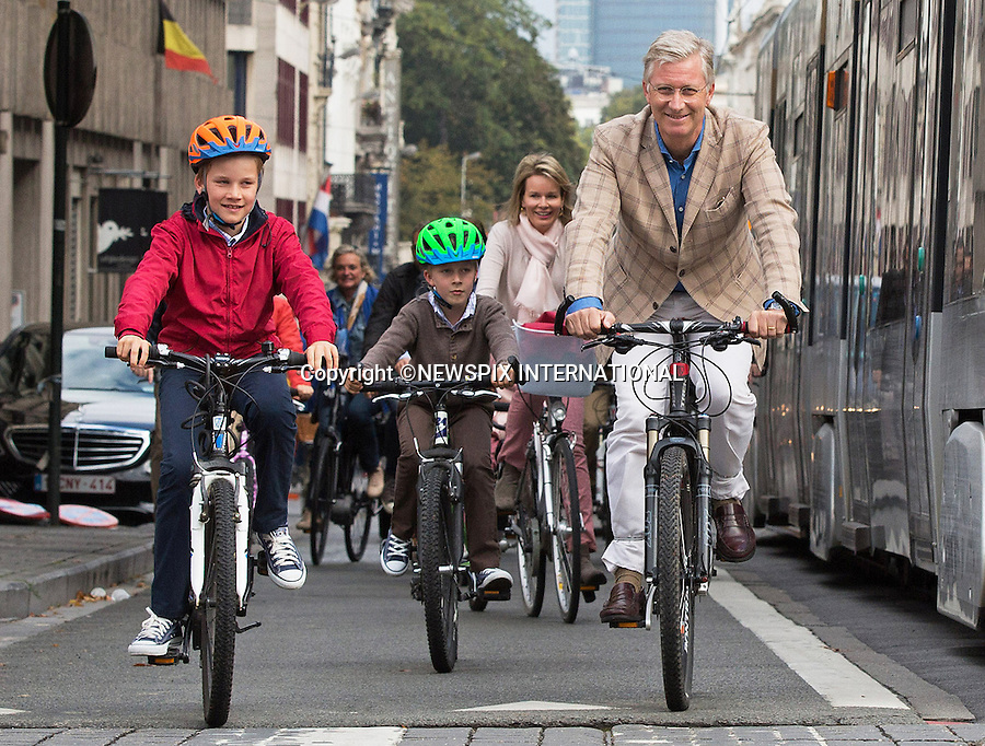 BELGIAN ROYAL FAMILY<br /> cycle through the centre of Brussels on &quot;Car Free Sunday&quot;_21/09/2014<br /> King Philippe of Belgium and Queen Mathilde of Belgium together with their children, Prince Gabriel, Prince Emmanuel, Crown Princess Elisabeth and Princess Eleonore participated in the event.<br /> Mandatory Credit Photos: &copy;NEWSPIX INTERNATIONAL<br /> <br /> **ALL FEES PAYABLE TO: &quot;NEWSPIX INTERNATIONAL&quot;**<br /> <br /> PHOTO CREDIT MANDATORY!!: NEWSPIX INTERNATIONAL(Failure to credit will incur a surcharge of 100% of reproduction fees)<br /> <br /> IMMEDIATE CONFIRMATION OF USAGE REQUIRED:<br /> Newspix International, 31 Chinnery Hill, Bishop's Stortford, ENGLAND CM23 3PS<br /> Tel:+441279 324672  ; Fax: +441279656877<br /> Mobile:  0777568 1153<br /> e-mail: info@newspixinternational.co.uk