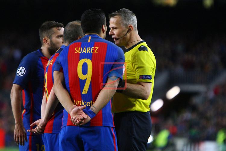 UEFA Champions League 2016/2017.<br /> Quarter-finals 2nd leg.<br /> FC Barcelona vs Juventus Football Club: 0-0.<br /> Jordi Alba, Andres Iniesta, Luis Suarez &amp; Bjorn Kuipers.