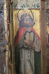 Moses medieval rood screen paintings, St Andrew church, Westhall, Suffolk, England, UK