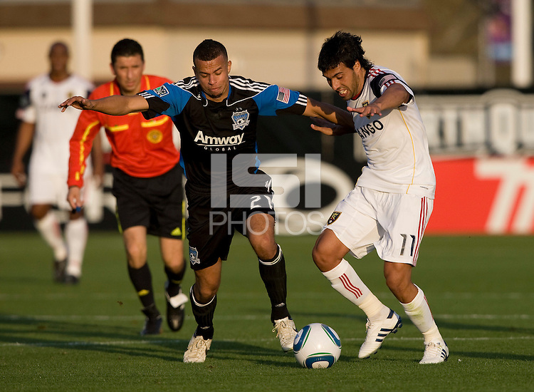 Jason Hernandez of Earthquakes fights for the ball against Javier Morales of Real Salt Lake during the game at Buck Shaw Stadium in Santa Clara, California on March 27th, 2010.   Real Salt Lake defeated San Jose Earthquakes, 3-0.
