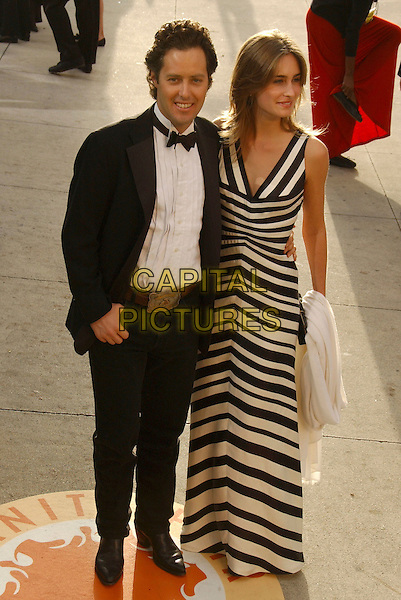 DAVID LAUREN & LAUREN BUSH.The 2007 Vanity Fair Oscar Party Hosted by Graydon Carter held at Morton's, West Hollywood, California, USA,.25 February 2007..full length black and white striped dress.CAP/ADM/GB.©Gary Boas/AdMedia/Capital Pictures.