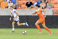 Houston, TX - Saturday July 08, 2017: Carli Lloyd looks to pass the ball during a regular season National Women's Soccer League (NWSL) match between the Houston Dash and the Portland Thorns FC at BBVA Compass Stadium.