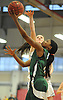 Zhaneia Thybulle #15 of Elmont scores the opening basket of the game moments into the Class A Long Island Championship against Hauppauge at Suffolk County Community College Grant Campus in Brentwood on Thursday, March 8, 2018. Elmont won by a score of 56-30.