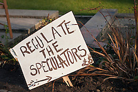 "Sign at the Occupy Edinburgh camp, St Andrew's Square, Edinburgh. Sign reads ""Regulate the Speculators"""