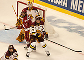 Hunter Miska (UMD - 35), Alexander Kerfoot (Harvard - 14), Carson Soucy (UMD - 21) - The University of Minnesota Duluth Bulldogs defeated the Harvard University Crimson 2-1 in their Frozen Four semi-final on April 6, 2017, at the United Center in Chicago, Illinois.