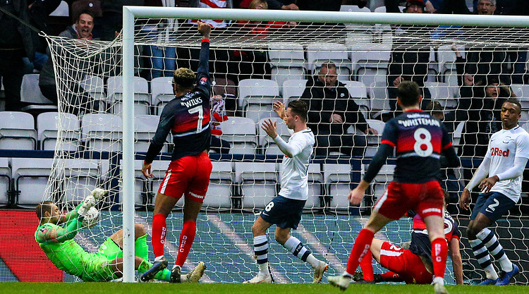 Preston North End's Michael Crowe can't stop the shot from Doncaster Rovers' Tom Anderson<br /> <br /> Photographer Alex Dodd/CameraSport<br /> <br /> The Emirates FA Cup Third Round - Preston North End v Doncaster Rovers - Sunday 6th January 2019 - Deepdale Stadium - Preston<br />  <br /> World Copyright &copy; 2019 CameraSport. All rights reserved. 43 Linden Ave. Countesthorpe. Leicester. England. LE8 5PG - Tel: +44 (0) 116 277 4147 - admin@camerasport.com - www.camerasport.com