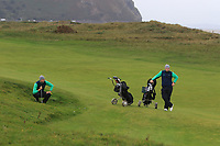 Jonathan Yates and Caolan Rafferty from Ireland on the 7th during Round 3 Foursomes of the Men's Home Internationals 2018 at Conwy Golf Club, Conwy, Wales on Friday 14th September 2018.<br /> Picture: Thos Caffrey / Golffile<br /> <br /> All photo usage must carry mandatory copyright credit (&copy; Golffile | Thos Caffrey)
