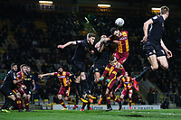 Romain Vincelot of Bradford City heads towards goal during the Sky Bet League 1 match between Bradford City and Wigan Athletic at the Northern Commercial Stadium, Bradford, England on 14 March 2018. Photo by Thomas Gadd.