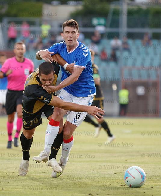 01.08.2019 Progres Niederkorn v Rangers: Ryan Jack and Yann Marques