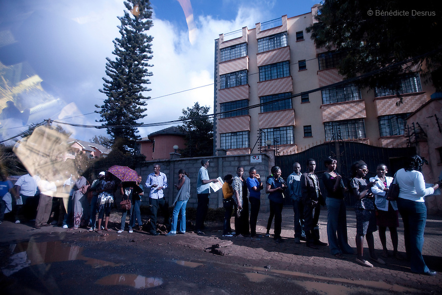 4 March 2013 - Nairobi, Kenya - Kenyans wait in line to cast their ballots in Nairobi, Kenya. Five years after more than 1,000 people were killed in election-related violence, Kenyans began casting votes in a nationwide election seen as the country's most important, and complicated, in its 50-year history. Uhuru Kenyatta, one of two top candidates for president, faces charges at the International Criminal Court for orchestrating the 2007-08 postelection violence. Photo credit: Benedicte Desrus