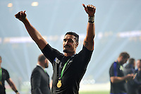 Jerome Kaino of New Zealand celebrates with the crowd after the match. Rugby World Cup Final between New Zealand and Australia on October 31, 2015 at Twickenham Stadium in London, England. Photo by: Patrick Khachfe / Onside Images
