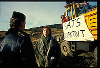 Natur og ungdom (environmental youth org.) protest the building of a new higway. Sarpsborg Norway.