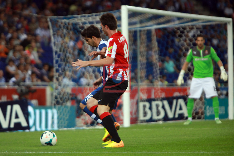 League BBVA 2013/2014 - Game: 05.<br /> RCD Espanyol vs Athletic Club: 3-2.<br /> Javi Lopez vs Laporte.