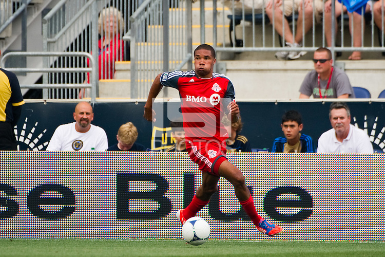 Ryan Johnson (9) of Toronto FC. The Philadelphia Union defeated Toronto FC 3-0 during a Major League Soccer (MLS) match at PPL Park in Chester, PA, on July 8, 2012.