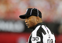 Sept. 27, 2009; Glendale, AZ, USA; NFL referee Darryll Lewis during the game between the Arizona Cardinals against the Indianapolis Colts at University of Phoenix Stadium. Indianapolis defeated Arizona 31-10. Mandatory Credit: Mark J. Rebilas-