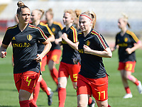 20180228 - LARNACA , CYPRUS :  Belgian Maud Coutereels (left) and Jana Coryn (r) pictured during warming up of the women's soccer game between The Belgian Red Flames and the Czech Republic , on wednesday 28 February 2018 at GSZ Stadium in Larnaca , Cyprus . This is the first game in group B for Belgium during the Cyprus Womens Cup , a prestigious women soccer tournament as a preparation on the World Cup 2019 qualification duels. PHOTO SPORTPIX.BE | DAVID CATRY